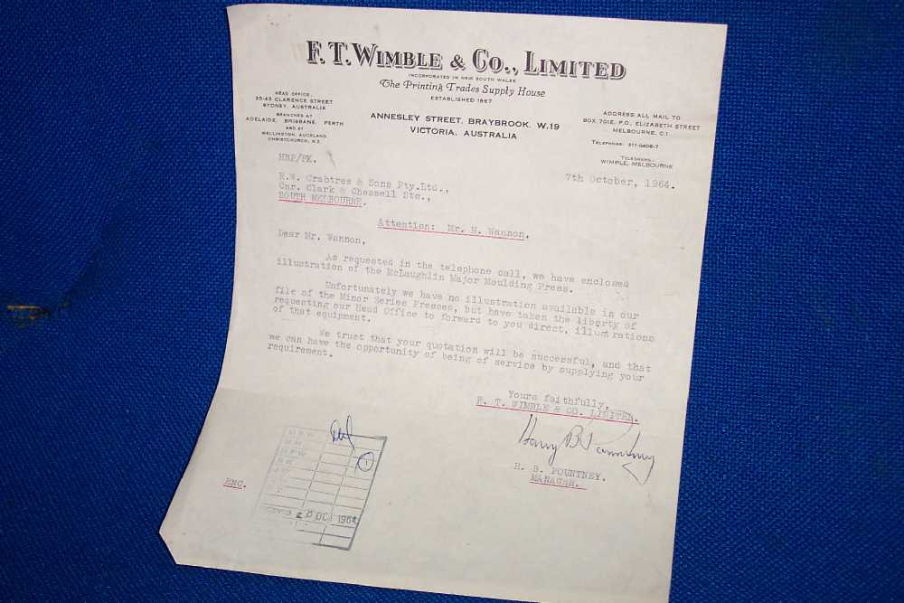 Melbourne Museum of Printing Business Documents Letter from – Business Document